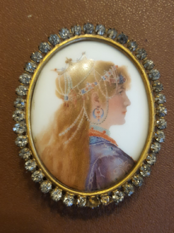 Antique Portrait Miniature Painting on Porcelain (A.M.W.) - rimmed in rhinestones